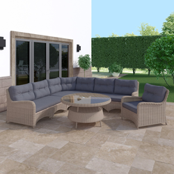 Rattan Effect Garden Corner Sofa Set with Chair and Round Table - Aspen