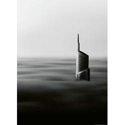 Idealdecor Fototapete Wolkenkratzer, grafisch, (2 St), Vlies, 2 Bahnen, 183 x 254 cm