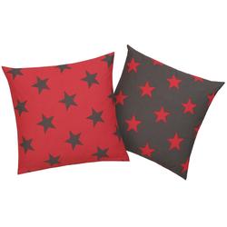 Kissenhüllen Stella, my home (2 Stück), mit Sternen-Muster rot 50 cm x 50 cm