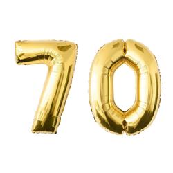 MyBeautyworld24 Folienballon Folienballon Zahlenballon in der Farbe gold Heliumballon Riesenzahl Geburtstag Deko Höhe 100 cm 70