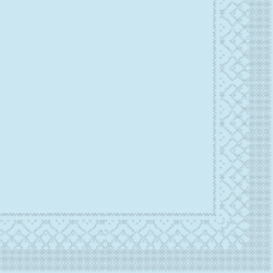 Mank Tissue Basics Servietten, 40 x 40  cm, 1/8 Falz, 3-lagig, 1 Karton = 6 x 100 Stück = 600 Servietten, hellblau