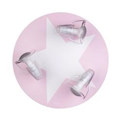 Waldi-Leuchten Deckenleuchten Deckenleuchte grau mit Stern weiß, 3-flg. rosa