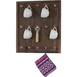 Tassenhalter Monaco, Hängeregal Tassenbrett Wandboard, Shabby-Look Vintage 50x45x5cm ~ braun
