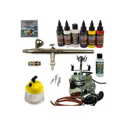 Airbrush-City Druckluftwerkzeug Fine-Art Airbrush Set - Airbrushpistole Ultra + Saturn Kompressor - Kit 9207, (1-St)