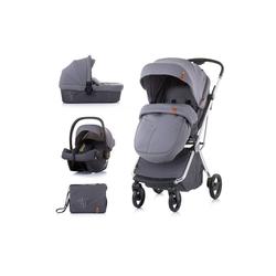 Chipolino Kombi-Kinderwagen Kombikinderwagen Piruet 3 in 1, Babyschale Sitz 360° drehbar Tragetasche grau
