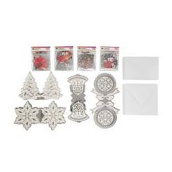 Grußkarten-Set Kristallfolien Grußkarten & 3D-Motive 160tlg.