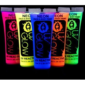 UV Glow - 5x10ml UV-Bodypaint Körpermalfarben Schwarzlicht fluoreszierende Schminke Bodypainting Neon Farben Leuchtfarben
