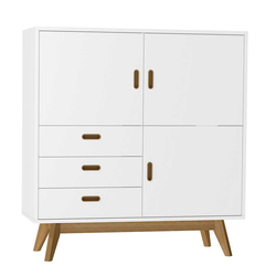 Esszimmer Highboard in Weiß Eiche massiv