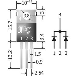 Diotec Schottky-Dioden-Array - Gleichrichter 20A SBCT2040 SIP-3 Array - 1 Paar gemeinsame Kathoden