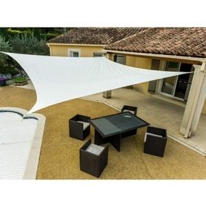 WerkaPro 1119 Sonnensegel mit Schlitzen, 160 g/m2, Polyester, quadratisch, 5 x 5 m, cremefarben, für Balkon, Terrasse und Garten