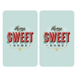 WENKO Universal Herdabdeckplatte, 30 x 52 cm, Herdabdeckung für Glaskeramik-, Elektro- und Gasherde, Muster: Home Sweet Home, 2 Platten