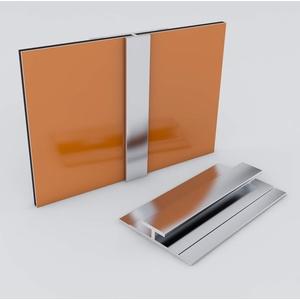 Duschrückwand-Profilsystem Verbindungsprofil Aluprofil Aluminiumprofil für 3mm Duschrückwand Küchenspiegel 300cm silber