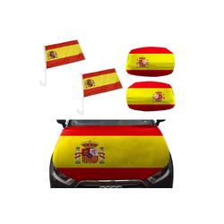 Sonia Originelli Fahne Auto Fan-Paket Haubenfahne Fensterfahnen Spiegelfahnen Magnetflaggen Spanien Spain Espana, Fanartikel für das Auto in Spanien-Farben Fanset-10XL