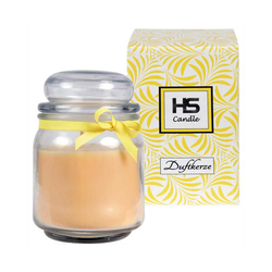 HS Candle Duftkerze (1-tlg), Kerze im Bonbonglas, Jar-Candle mit ca. 50-60 Std. Brenndauer, Höhe: 13cm, Ø9cm gelb