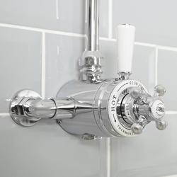 1-Weg Duschthermostat Aufputz für Duschstange/Schlauch, Chrom/Weiß - Elizabeth, von Hudson Reed
