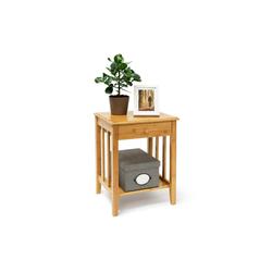 relaxdays Beistelltisch Bambus Beistelltisch mit Schublade