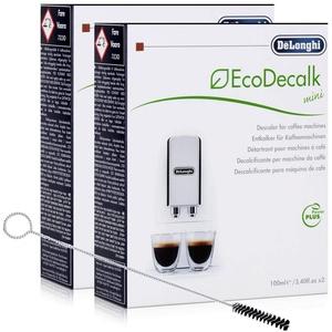 2x Entkalker Delonghi EcoDecalk Mini Power Plus mit Reinigungsbürste für Kaffeevollautomaten