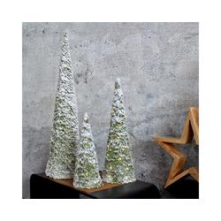 MARELIDA LED Baum LED Kegel Bäume - 3 Bäume in Kegelform mit Kunstschnee und warmweißen LED - Batteriebetrieb