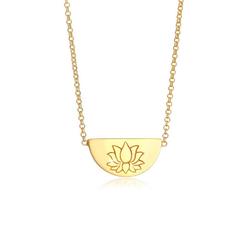 Elli Kette mit Anhänger Lotusblüte Talisman Symbol 925 Silber, Lotusblume goldfarben