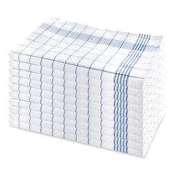 10er Set Geschirrhandtuch aus Halbleinen, kariert, blau-weiss, 50x70cm (blau)