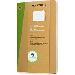 Notizbuch Evernote L A5 13x21cm VE=2 Stück kariert Softcover natur