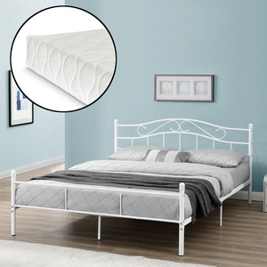 [en.casa]® Metallbett Mit Matratze 200x200cm Weiß Bett Bettgestell Doppelbett