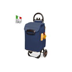 linovum Einkaufstrolley Einkaufstrolley HIMY XL blau gepunktet mit 78l Fassung & Seitentaschen