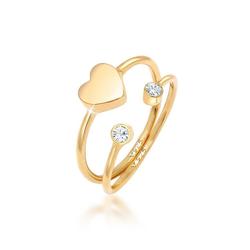 Elli Ring-Set Herz Liebe Swarovski® Kristall (2 tlg) 925 Silber, Kristall Ring goldfarben 54
