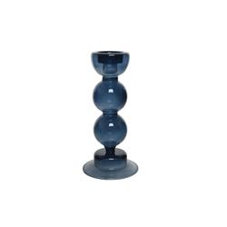 Kaemingk Glas Kerzenteelicht Kugel in blau, 18 cm