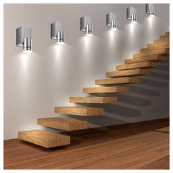 etc-shop Wandleuchte, 6er Set LED Wand Spot Leuchten Wohn Ess Zimmer Beleuchtung Treppenhaus ALU Strahler gebürstet
