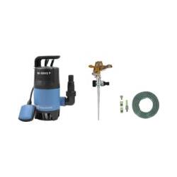 Güde Pompe à eau usée 7500 l/h avec arroseur de pelouse Deuba et tuyau de jardin de 15 mètres avec