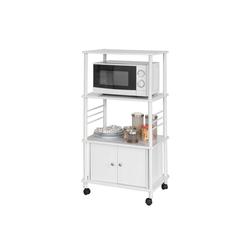 SoBuy Küchenwagen FRG12, Küchenschrank Rollschrank Mikrowellenschrank weiß 60 cm x 115 cm x 40 cm