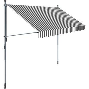 SONGMICS Klemmmarkise, 300 cm, Balkonmarkise, Sonnenschutz, Markise mit Gestell, Verstellbare Höhe 2-3 m, Grau-Weiß gestreift GSA313GW