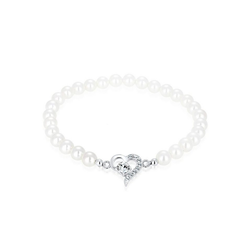 Elli Perlenarmband Herz Perle Kristalle Silber