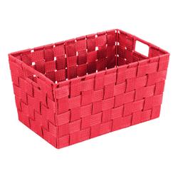 WENKO Adria Aufbewahrungskorb, Rot, Kunststoffgeflecht in neuer Optik , Größe: S