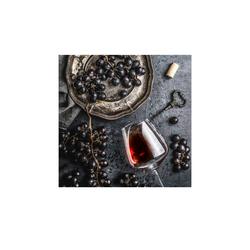Glasbild 50x50 cm  Wein und Trauben