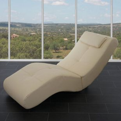 Relaxliege Forli II, Recamiere Chaiselongue, 76x67x168cm ~ Kunstleder, creme