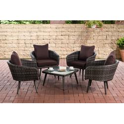 CLP Gartenmöbelset Ameland Flachrattan Sitzhöhe 40 cm, Set aus Polyrattan mit 4x Sessel & Glastisch grau