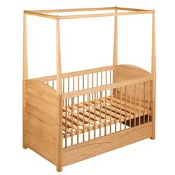 BioKinder - Das gesunde Kinderzimmer Babybett Luca, Spar-Set: Kinderbett Luca und Himmelbettaufsatz, Erle beige