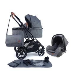 Pixini Kombi-Kinderwagen, Kinderwagen Lania 3 in 1 inkl. Autositz, Regenplane, Wickeltasche grau
