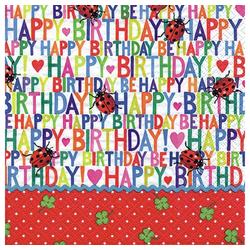 Linoows Papierserviette 20 Servietten, Geburtstag, Happy Birthday und, Motiv Geburtstag, Happy Birthday und Marienkäfer