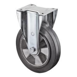 BS Bockrolle D.100mm Trgf. 150kg Elastic-Vollgummireifen Platte 138x110mm