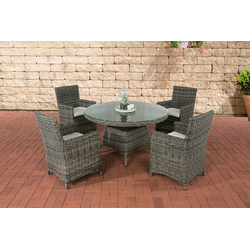 CLP Gartenmöbelset Pinella 5mm, 4 Gartenstühle mit Polsterauflagen grau