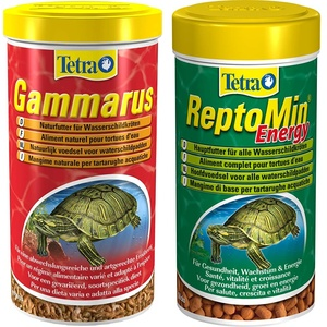 Tetra Gammarus Schildkröten-Futter - schonend getrocknetes Naturfutter aus ganzen Bachflohkrebsen, 1 Liter Dose & ReptoMin Energy Schildkröten-Futter - 250 ml Dose