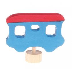 GRIMM´S Spiel und Holz Design Kerzenständer, Stecker Eisenbahnwaggon, blau