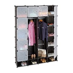 relaxdays Kleiderschrank transparent / schwarz 18 Fachböden