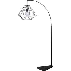 Licht-Erlebnisse Stehlampe DIAMOND Bogenlampe Schwarz Metall Schirm Stehlampe eckig Lampe