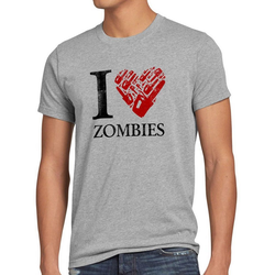 style3 Print-Shirt Herren T-Shirt Love Zombie walking kettensäge dead the halloween horror film axt grau XXL