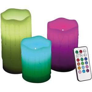 Echtwachskerzen mit Farbwechsel-LED & Fernbedienung, 3er-Set
