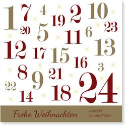 Private Weihnachtskarten (10 Karten) selbst gestalten, Adventskalender in Gold - Braun